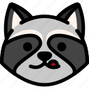 emoji, emotion, expression, face, feeling, naughty, raccoon icon