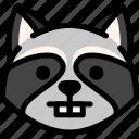 emoji, emotion, expression, face, feeling, nerd, raccoon