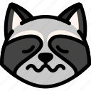 emoji, emotion, expression, face, feeling, nervous, raccoon icon