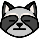 emoji, emotion, expression, face, feeling, neutral, raccoon icon
