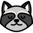 emoji, emotion, expression, face, feeling, peace, raccoon icon