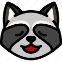 emoji, emotion, expression, face, feeling, raccoon, relax icon