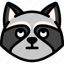 emoji, emotion, expression, face, feeling, raccoon, rolling eyes icon