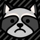 emoji, emotion, expression, face, feeling, raccoon, sad icon