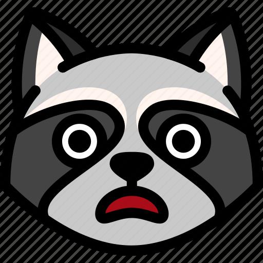 emoji, emotion, expression, face, feeling, raccoon, shocked icon