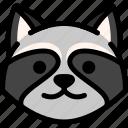 emoji, emotion, expression, face, feeling, raccoon, smile icon