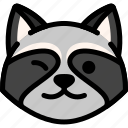 emoji, emotion, expression, face, feeling, raccoon, smile icon