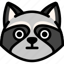 emoji, emotion, expression, face, feeling, raccoon, stunning icon