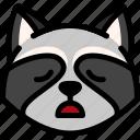 emoji, emotion, expression, face, feeling, raccoon, tried icon