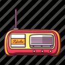 audio, broadcast, cartoon, classic, communication, radio, retro icon