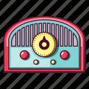 broadcast, cartoon, old, radio, retro, style, vintage icon