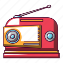 cartoon, music, old, radio, red, retro, vintage icon