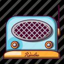 blue, cartoon, fm, music, radio, retro, speaker icon