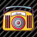 amusing, antenna, antique, audio, cartoon, radio, red icon