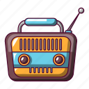 cartoon, music, radio, retro, sound, speaker, vintage