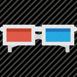 cinema, film, glasses, movie, view 3d icon