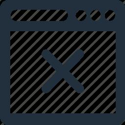 bar, browser, close, delete, remove icon