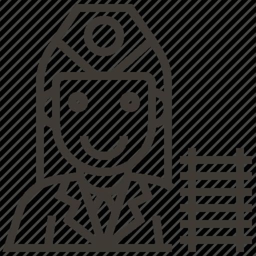 avatar, conductor, railroad, railway, train, woman icon