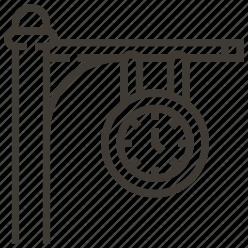 clock, platform, railroad, railway, train icon