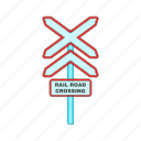 alert, cartoon, construction, crossing, rail, road, sign icon