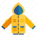 clothes, clothing, rain, raincoat, rainy, season, waterproof icon