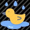 duck, float, pool, rain, wet