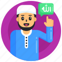prayer, worship, muslim praise, muslim glorification, muslim man icon