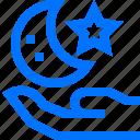 crescent, hand, islam, moon, muslim, ramadan, star