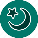 crescent, moon, new moon, star icon
