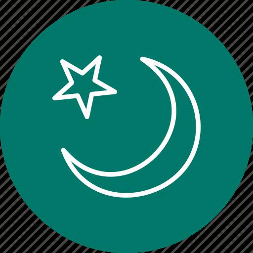 crescent, moon, new moon, star icon