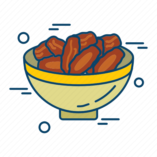 bowl, dates, islamic, muslim, religion icon