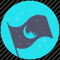 flag, islam, moon, mosque, ramadan, ramzan, stars icon