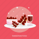 dates, food, islamic, moslem, ramadan, religion, star icon