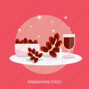 dates, food, islamic, moslem, ramadan, religion, star icon