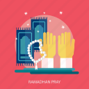 hand, pray, prayer beads, ramadan, religion, sajadah, star icon