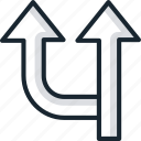arrows, directions, locations, roads, top, up, ways icon