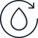 arrow, drop, ecology, recycle, recycling, repeat, water icon