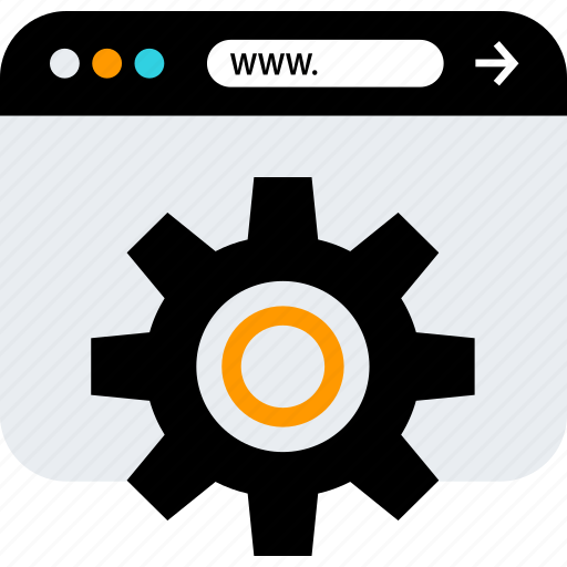 browser, gear, option, seo icon