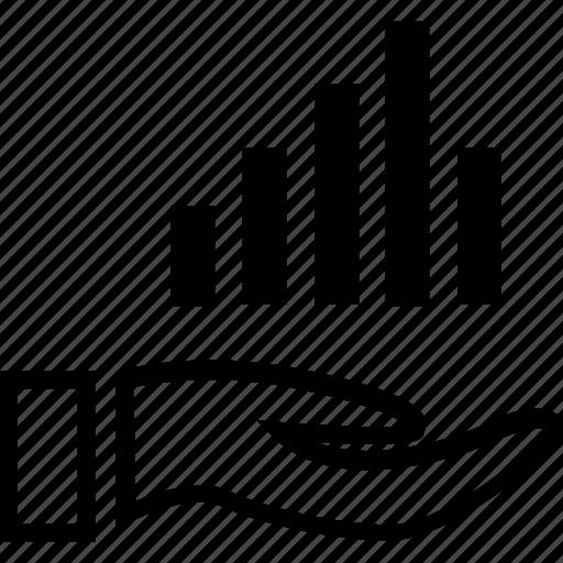bars, data, hand, online icon