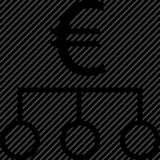 euro, revenue, sign, strategy icon