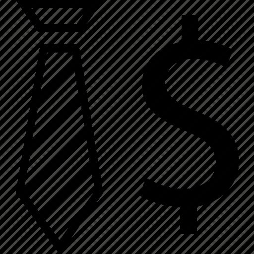 dollar, finance, sign, tie icon