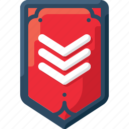 army, badge, insignia, military, rank, red, three icon