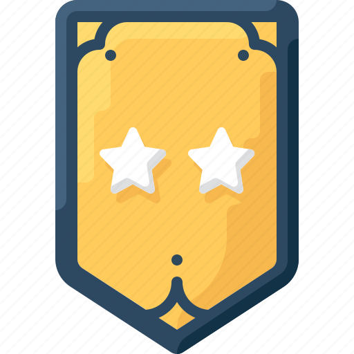 army, badge, insignia, military, rank, star, two icon