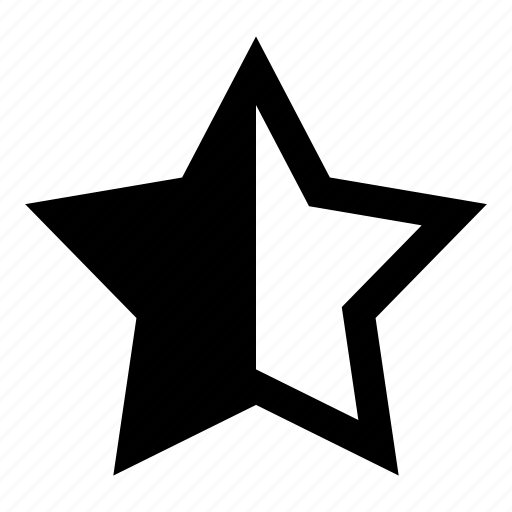 assessment, favorites, half star, rated, rating scale, rating stars, star icon