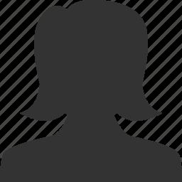 account, female, girl, person, profile, user, woman icon