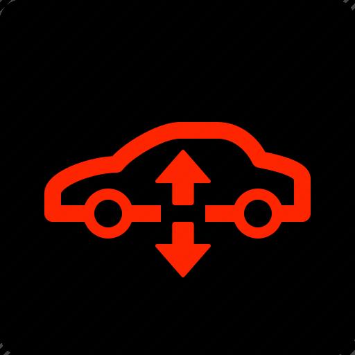 air, car, suspension, warning icon