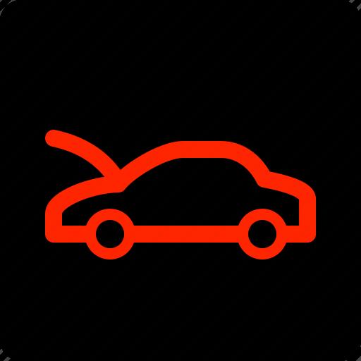 bonnet, car, open icon