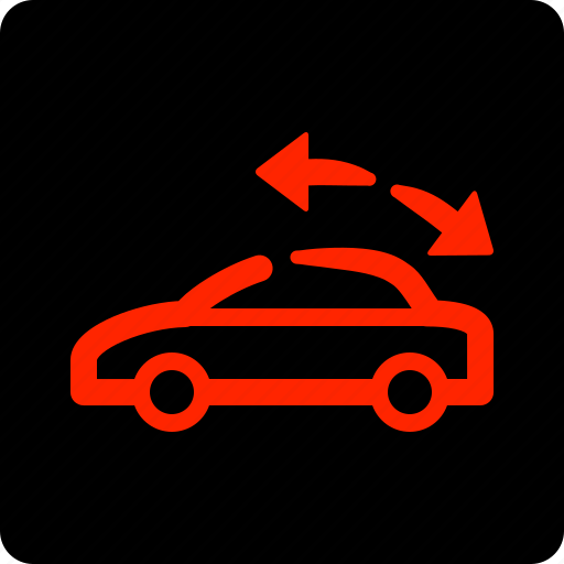 car, convertible, roof, warning icon
