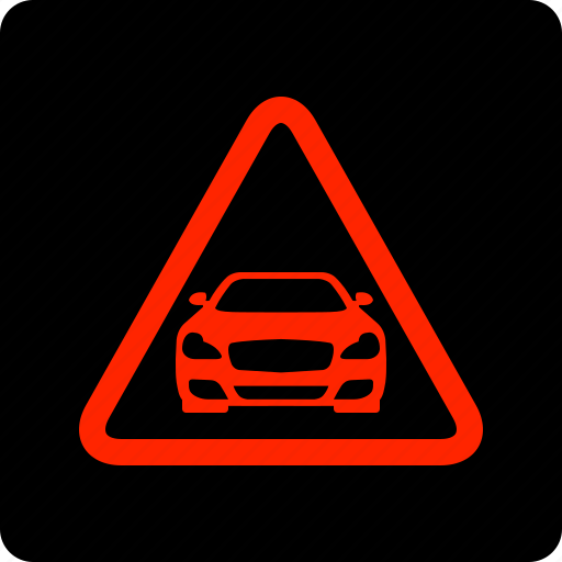 car, distance, warning icon