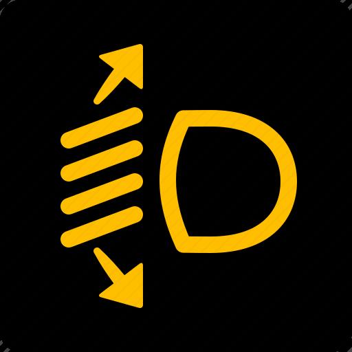 Control, lamp, headlight, range icon